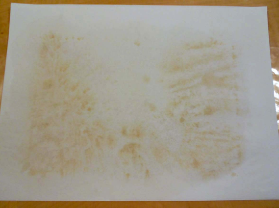 The blotter after one hour, which shows discolouration that has been pulled from the object.