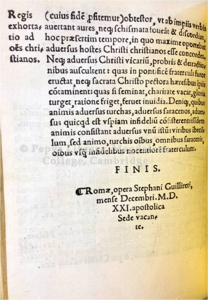 Final page of Pope Leo X's letter to Henry VIII; printer's colophon