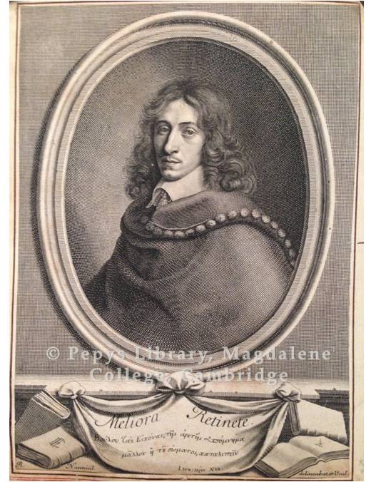 A line-engraving by R. Nanteuil of John Evelyn, from one of Pepys' portrait albums (PL 2979/126d)
